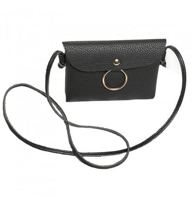 Petit sac anneau en simili cuir, noir
