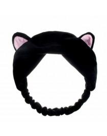 Serre-tête oreilles de chat effet velours, noir
