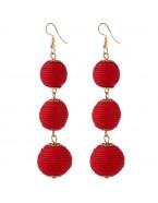 Boucles d'oreilles pendantes boules, rouge