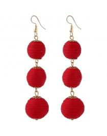 Boucles d'oreilles fantaisie boules pendantes, rouge