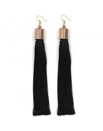 Longues boucles d'oreilles pendantes pompon, noir