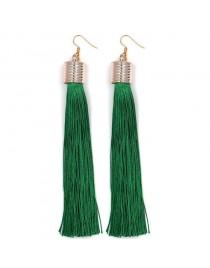 Longues boucles d'oreilles pendantes pompon, vert