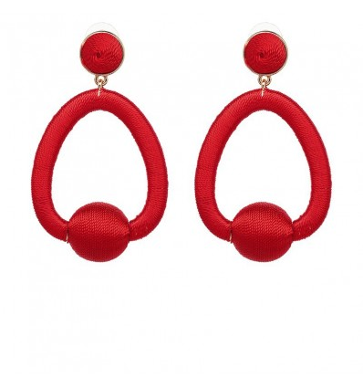 Boucles d'oreilles ovales, rouge