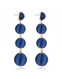 Boucles d'oreilles boules pendantes, bleu marine