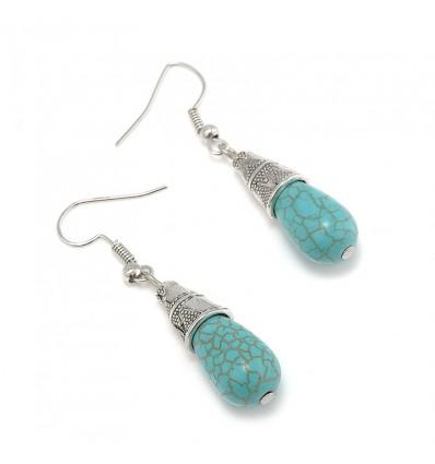 Boucles d'oreilles gouttes bleu turquoise