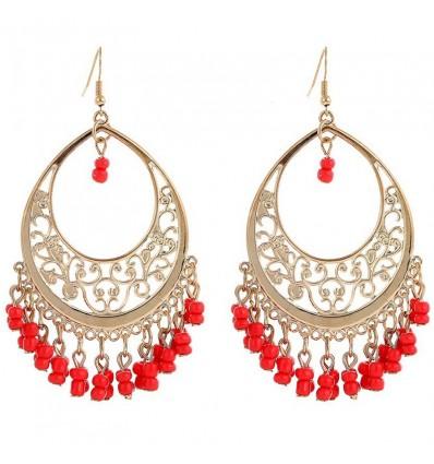 Boucles d'oreilles chandelier, rouge