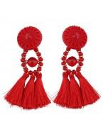 Longues boucles d'oreilles pompons, rouge