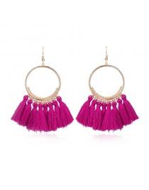 Boucles d'oreilles pompon, rose foncé