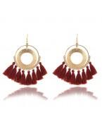 Boucles d'oreilles pompon, rouge foncé
