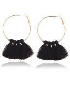 Boucles d'oreilles créoles pompons, noir