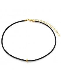 Collier ras de cou noir pendentif perle doré