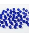 Perles à facettes 4 mm, bleu foncé x50