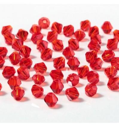 Perles à facettes 4 mm, rouge x50
