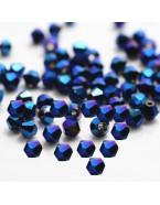 Perles à facettes 4 mm, bleu avec reflets x50