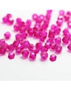Perles à facettes 4 mm, rose fuchsia x50