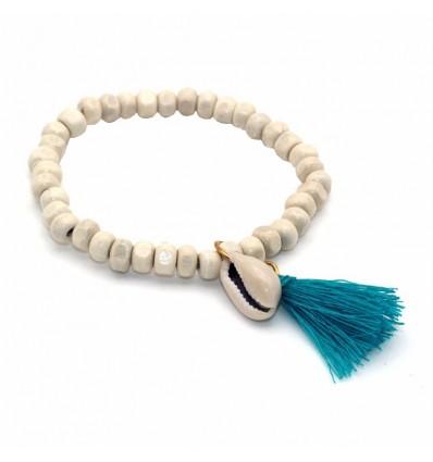Bracelet pompon, bleu