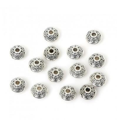 Perles argentées en métal x 10