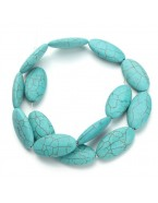 Perles ovales, turquoise x3
