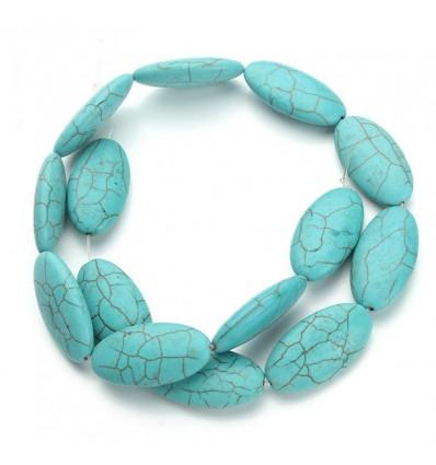 Perles ovales, turquoise x3