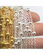 Chaîne avec boules pour fabrication de bijoux, doré