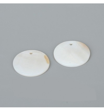 Perles plates blanches x3