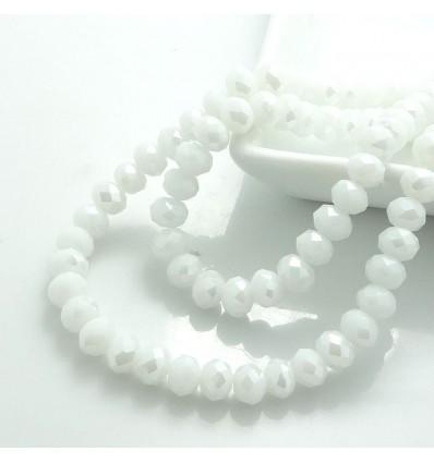 Perles à facettes 6 mm, blanc