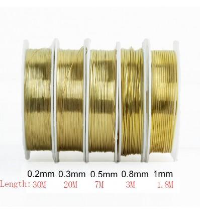 Fil en laiton pour bijoux doré, 1.0 mm