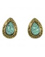 Boucles d'oreilles goutte d'eau turquoise, bronze