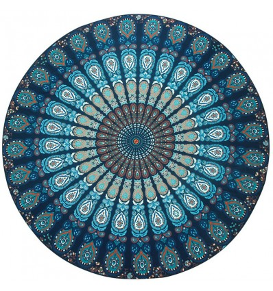 Serviette mandala, bleu