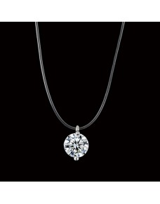 Collier fin diamant fil transparent