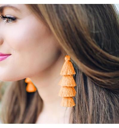 Boucles d'oreilles 4 pompons, orange