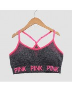 Brassière crop top Pink, gris chiné
