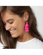 Boucles d'oreilles pompons rose