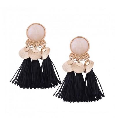 Boucles d'oreilles pendantes pompons, noir