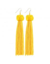 Boucles d'oreilles longues pompon, jaune