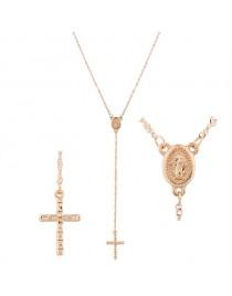 Collier pendentif croix médaillon, doré