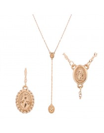 Collier pendentif double médaillon, doré