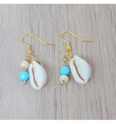 Boucles d'oreilles cauri perle turquoise