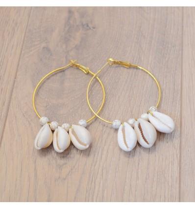 Boucles d'oreilles créoles cauri perles