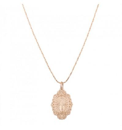 Collier minimaliste médaillon religieux, doré