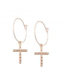 Boucles d'oreilles créoles avec croix, doré