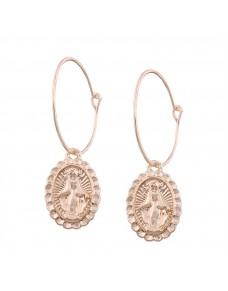 Boucles d'oreilles créoles avec médaillon, doré