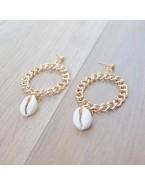 Boucles d'oreilles créoles chaîne et coquillages