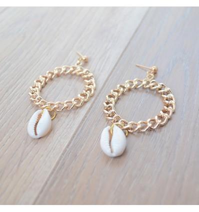 Boucles d'oreilles créoles chaîne et coquillage
