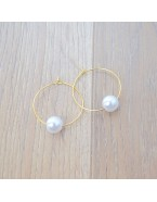 Boucles d'oreilles créoles petites avec perles