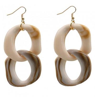 Boucles d'oreilles pendantes chaîne blanc/beige