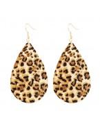 Boucles d'oreilles gouttes imprimées léopard