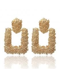 Boucles d'oreilles vintage créoles rectangles, doré