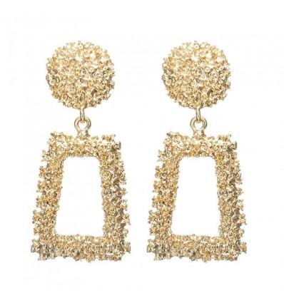 Boucles d'oreilles pendantes créoles rectangles, doré