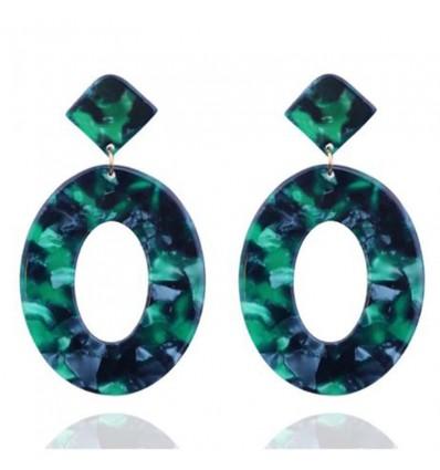 Boucles d'oreilles ovales écaille de tortue, vert